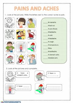 Interactive worksheet Pains and aches