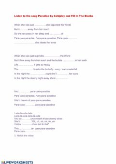 Ficha interactiva Fill inthe blanks with song lyrics