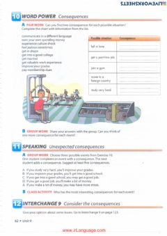 Interactive worksheet Unit 9  10 Word Power Consequences