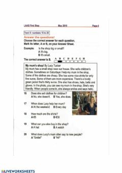 Interactive worksheet First Steps -reading