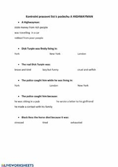 Interactive worksheet Listening  A highwayman