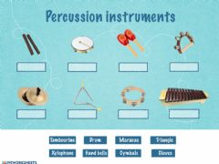 Ficha interactiva Percussion instruments