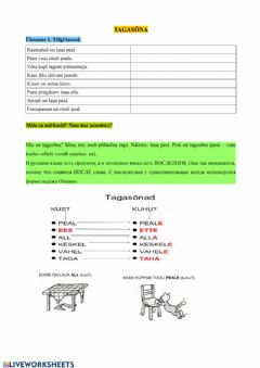 Interactive worksheet Tagasõnad 5. klass