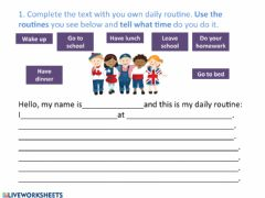 Interactive worksheet Daily routine and telling time
