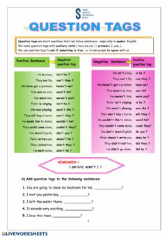 Interactive worksheet Tag questions practice pdf