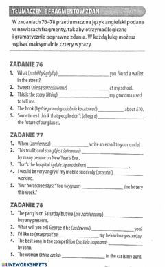 Interactive worksheet Egzamin ósmoklasisty