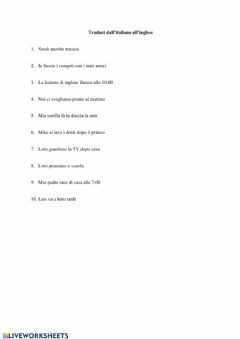 Interactive worksheet Translate the sentences using Present Simple