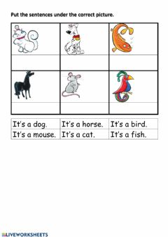 Interactive worksheet It's a cat.