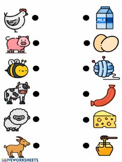Interactive worksheet Farm animals and their products