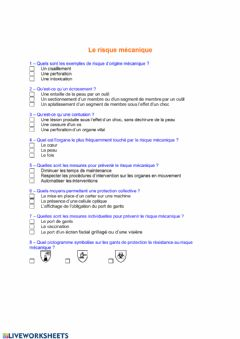 Interactive worksheet Le risque mecanique