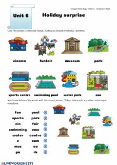 Interactive worksheet Places for holiday