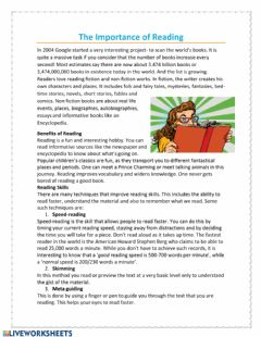 Interactive worksheet The importance or reading