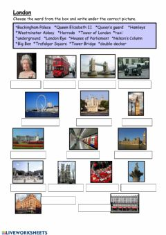 Interactive worksheet Famous plases in London