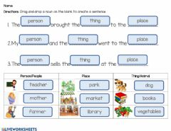 Interactive worksheet Using Nouns in a Sentence