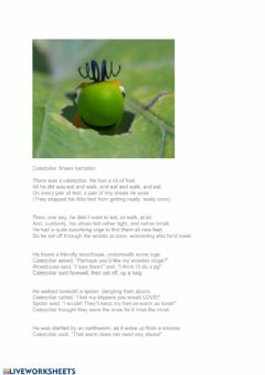 Interactive worksheet Caterpillar shoes poem