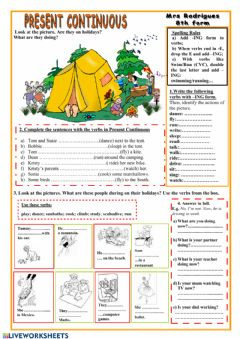 Interactive worksheet Present continuous and holidays