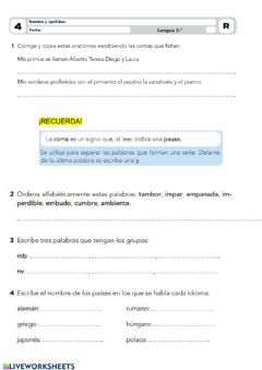 Interactive worksheet Lengua 3