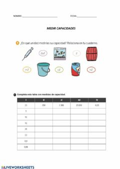 Interactive worksheet Medir capacidades