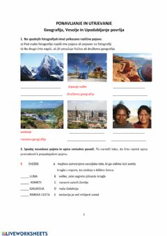 Interactive worksheet Geografija 6
