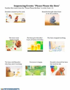 Interactive worksheet Sequencing Events Please Please the Bees