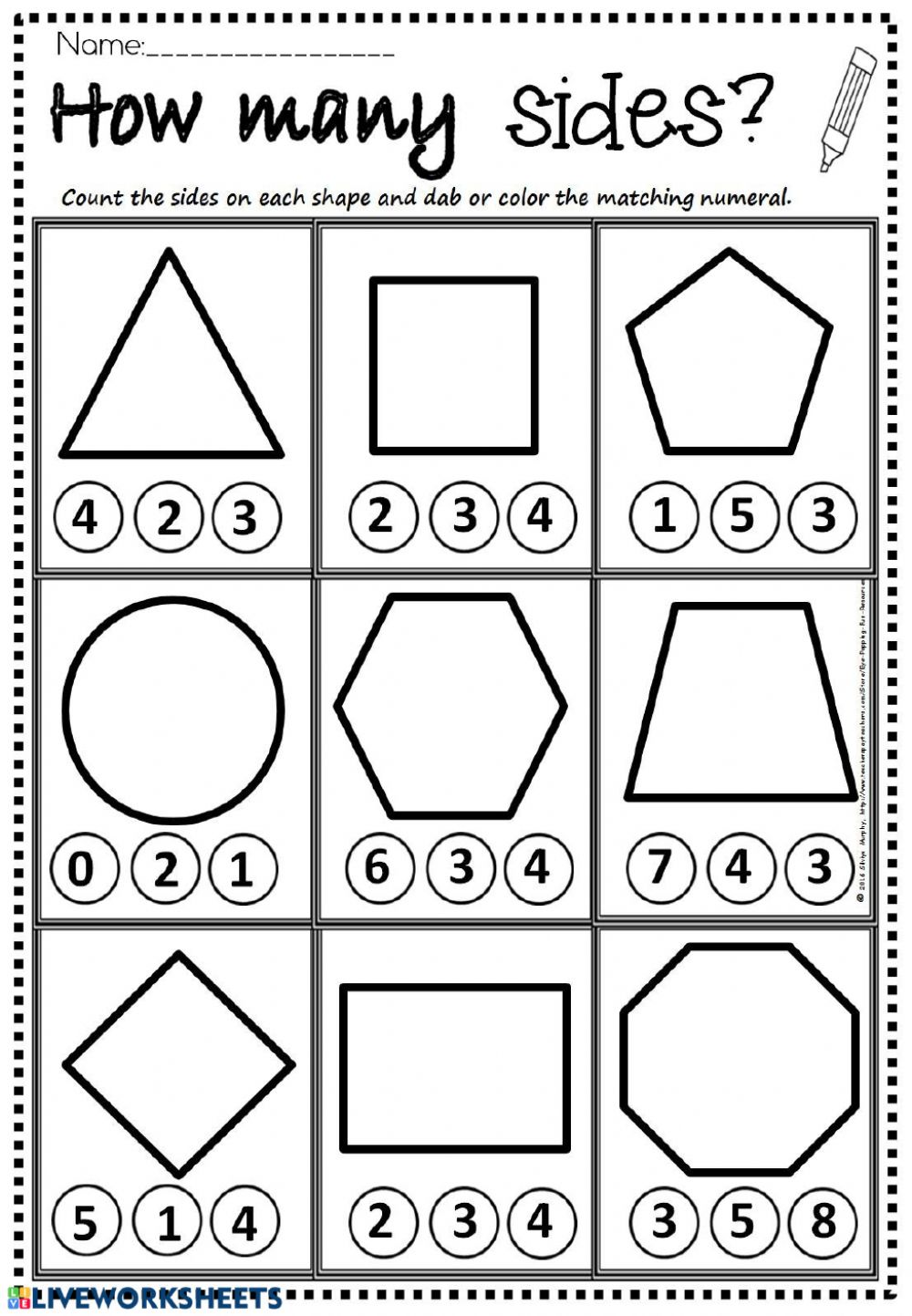 How Many Sides? - Interactive worksheet