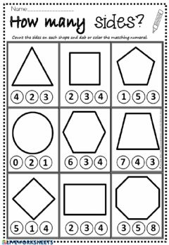 Interactive worksheet How Many Sides?