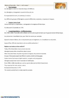 Interactive worksheet Recap part 1 - History of Australia