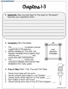 Interactive worksheet James and the Giant Peach 1-3
