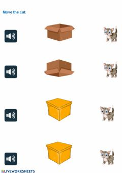 Ficha interactiva Move the cat (prepositions)