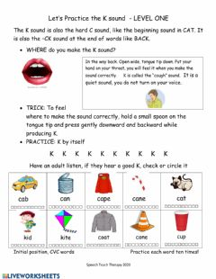 Ficha interactiva Practice -k- at beginning of words