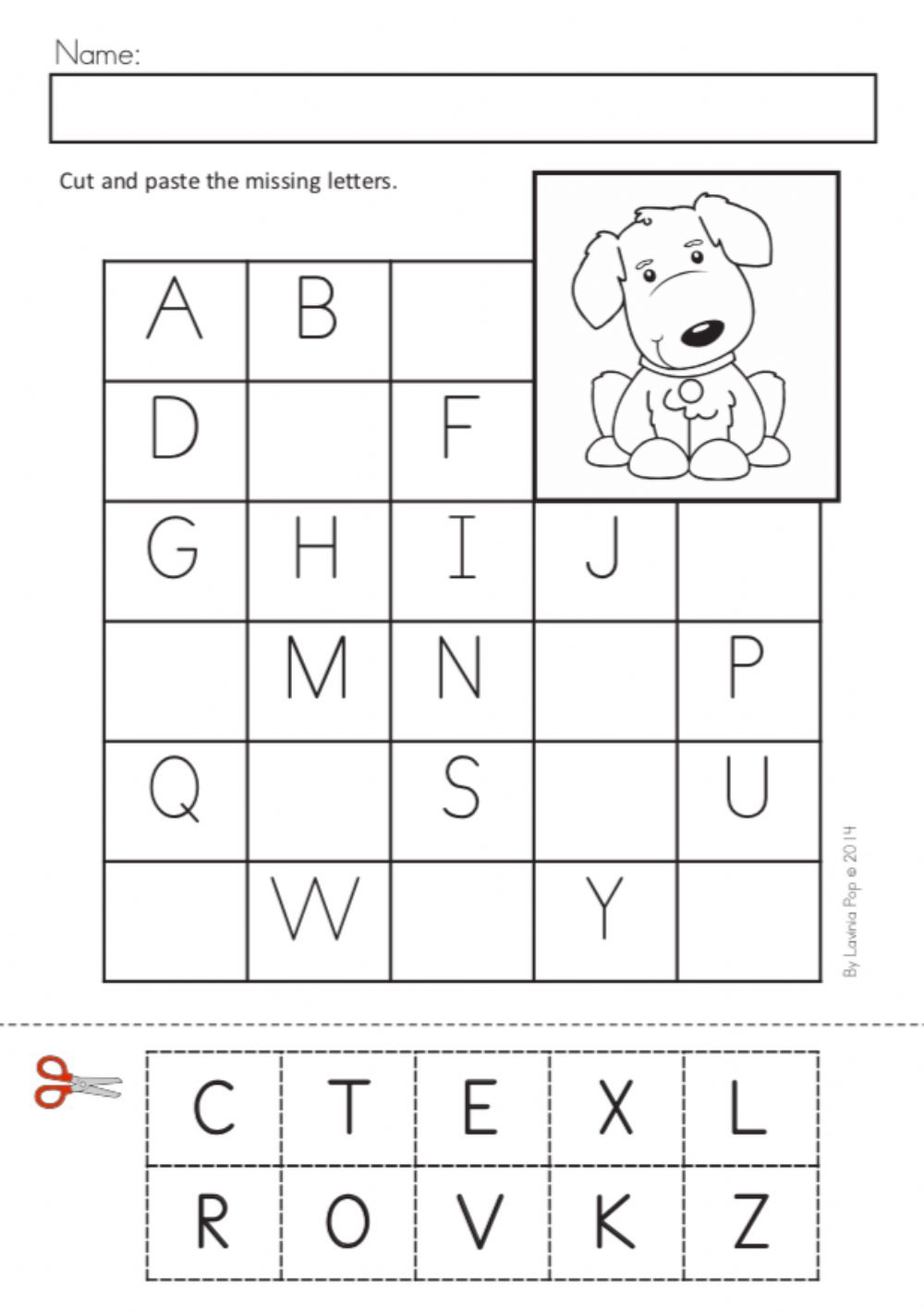 Alphabet: Fill in the blank - Interactive worksheet