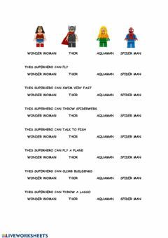 Interactive worksheet Superhero's abilities