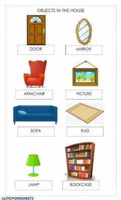 Ficha interactiva Objects in the house