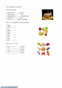 Interactive worksheet Food quantities & containers