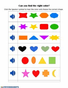 Interactive worksheet Identifying colors