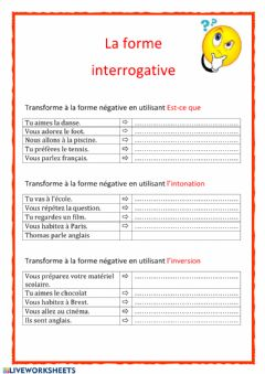 Interactive worksheet La forme interrogative