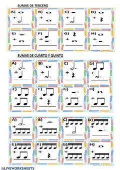 Interactive worksheet Sumas musicales