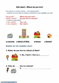 Interactive worksheet Where do you live?