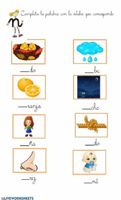 Interactive worksheet Letra N