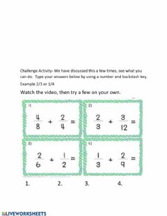 Interactive worksheet Adding fractions