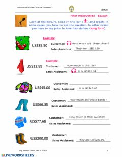 Interactive worksheet Clothing and Prices