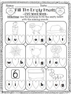 Interactive worksheet Fill the Empty Hearts - Missing Sounds
