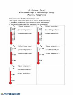 Interactive worksheet reading a thermometer