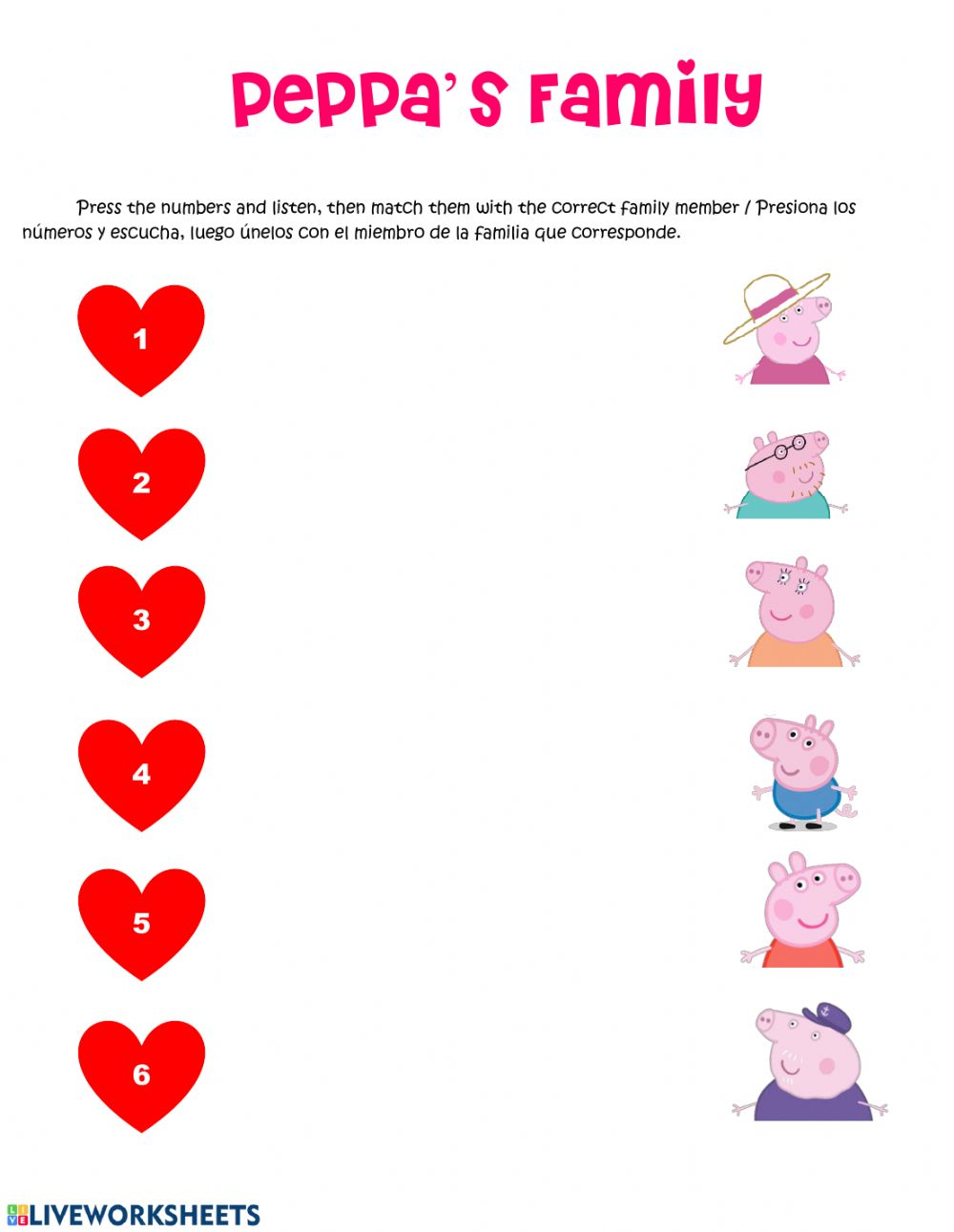 Peppa Pig's Family - Interactive worksheet