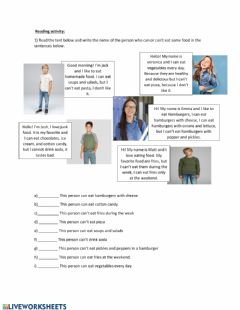 Interactive worksheet Food, can and can't