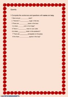 Interactive worksheet Quantity