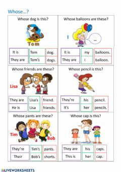 Interactive worksheet HK6-L2-possessive