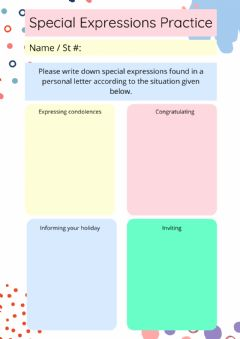 Interactive worksheet Personal Letters Expression