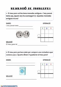 Interactive worksheet Problemes matemàtics
