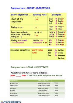Interactive worksheet 1. Comparatives theory